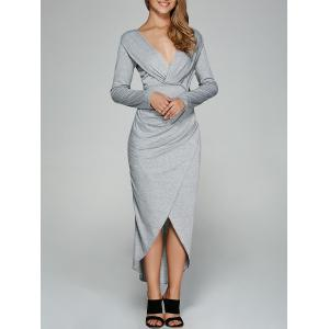 Asymmetrical Tulip Shape Twist-Front Dress - Light Gray - S