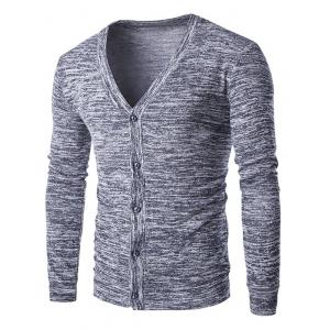 Slim-Fit Button Up Melange Cardigan