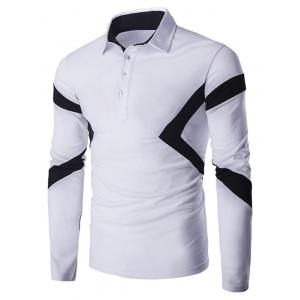 Slim-Fit Spliced Long Sleeve Polo Shirt - White - M
