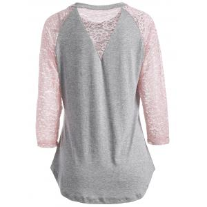 Lace Spliced See Through Sleeve Blouse - Gray - L