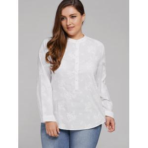 Plus Size Long Sleeve Floral Embroidered Shirt