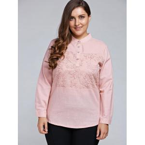 Plus Size Long Sleeve Embroidered Formal Shirt - Light Pink - 2xl