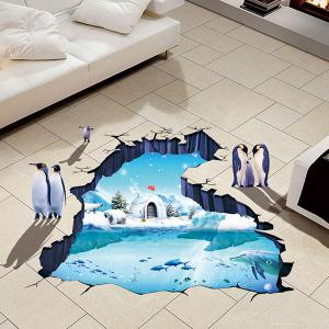Creative Removable 3D Polar Ice Decoration Toilet Floor Sticker