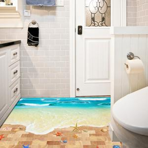 Creative Removable 3D Beach Toilet Floor Sticker