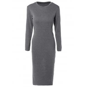 Long Sleeve Back Slit Pencil Dress