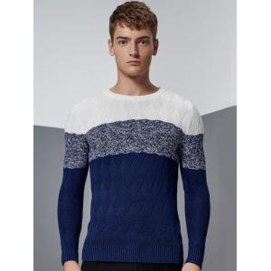 Color Block Splicing Knit Blends Argyle Crew Neck Long Sleeve Sweater