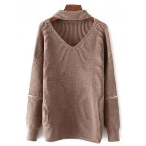 Oversized Choker Sweater - Coffee - One Size