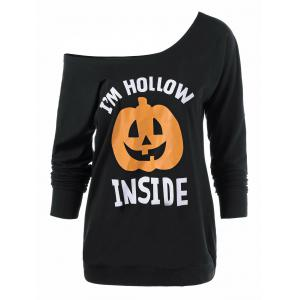 Skew Neck Pumpkin Lamp Print Halloween T-Shirt - Black - Xl