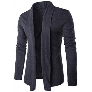 Slim Shawl Collar Drape Cardigan - Deep Gray - M