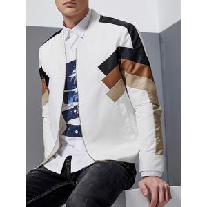 Stand Collar Color Block Spliced Zip-Up Jacket -