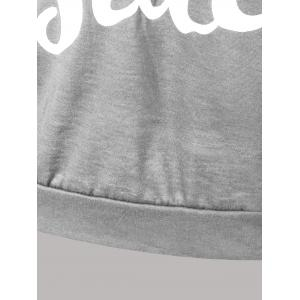 Letter Print Snow Pattern Plus Size Hoodie - LIGHT GRAY 2XL