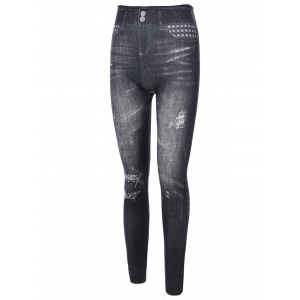 Stud Ripped Pattern Jeggings -