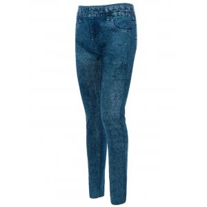 Skinny Jeggings Faux Jean Leggings - BLUE ONE SIZE