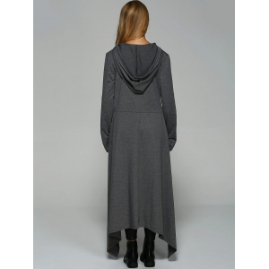 Asymmetrical Loose-Fitting Hoodie - DEEP GRAY XL