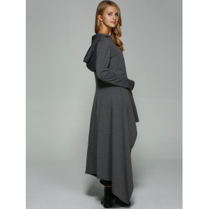 Asymmetrical Loose-Fitting Hoodie - DEEP GRAY L