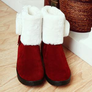 Fringe Bow Suede Snow Boots - DEEP RED 39