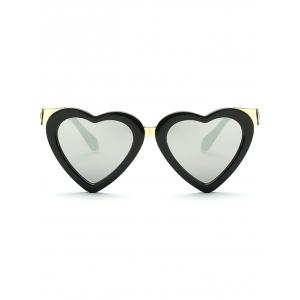 Cool Heart Shape Mirrored Beach Sunglasses - SILVER