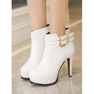 Platform Stiletto Heel Double Buckle Ankle Boots -