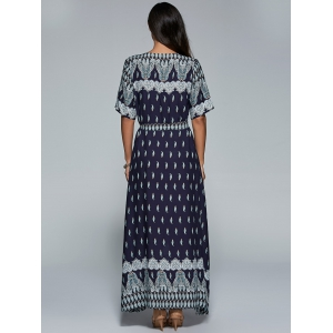 High Slit Pattern Maxi Wrap Dress - PURPLISH BLUE M