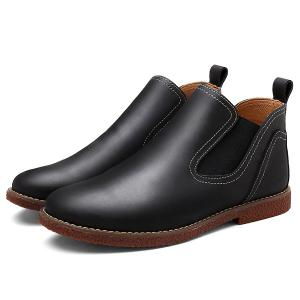 Slip-On Stitching PU Bottines en cuir -