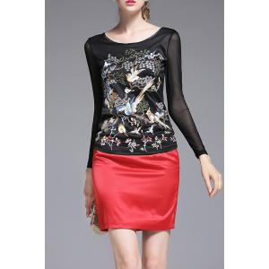 Full Sleeve Embroidered Top - Black - S