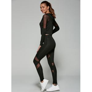 Slimming Cropped Hoodie with Mesh Spliced Leggings -