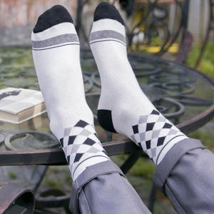 One Set Stripe Star British Flag Rhombus Pattern Socks -