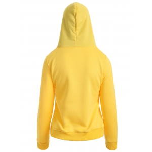 Drawstring Sexy Girls Printed Hoodie - YELLOW XL