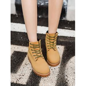 Flat Heel Stitching Lace-Up Combat Boots -