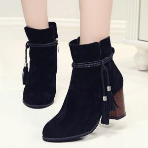 Zipper Tassels Suede Ankle Boots -