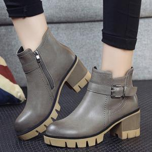 Platform Belt Buckle Zip Ankle Boots -