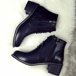 Zipper Tie Up Chunky Heel Ankle Boots -