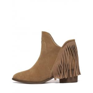 Suede Chunky Heel Fringe Ankle Boots -