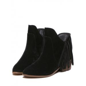 Suede Chunky Heel Fringe Ankle Boots - BLACK 38