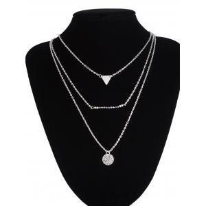 Triangle Coin Beads Charm Layered Necklace -