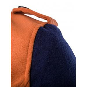 Double-Breasted Turn-Down Collar Color Block Splicing Woolen Coat - ORANGE 3XL