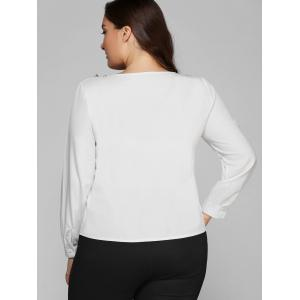 Plus Size Tassel V Design Long Sleeve Blouse - WHITE 5XL