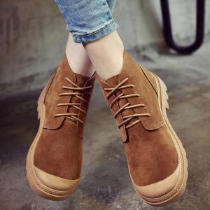 Tie Up Flat Heel Splicing Ankle Boots -