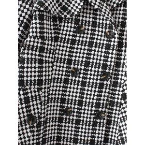 Plus Size Plaid Double Breasted Long Wool Coat - BLACK 4XL