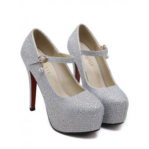 Sequined Rhinestone Stiletto Heel Pumps - SILVER 39