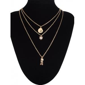 Multilayer Life Tree Letters Rhinestone Pendant Necklace -