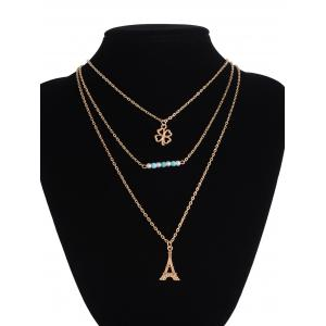 Clover Eiffel Tower Beads Layered Necklace -