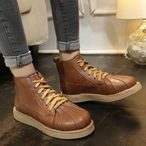 Lace Up Stitching Flat Heel Ankle Boots - BROWN 39