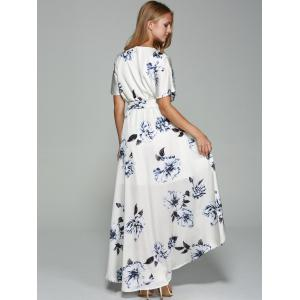 Belted High Low Surplice Printed Dress -