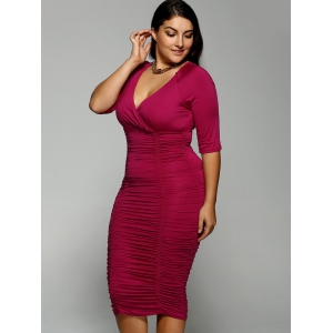 Plus Size Surplice Ruched Dress -
