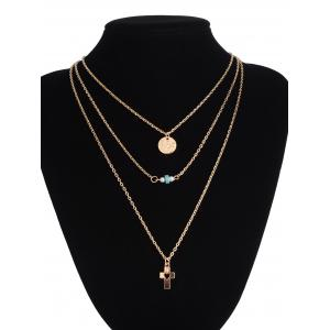 Hollowed Cross Round Bead Layered Necklace -