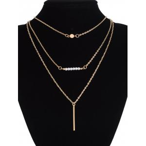 Faux Pearl Bar Layered Sequin Pendant Necklace -