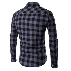 Button-Down Checked Turn-Down Collar Shirt -