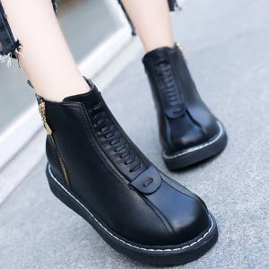 clearance good selling free shipping very cheap Stitching Flat Heel Side Zip Boots Jp8Yi9