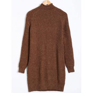 Paint Dot Ribbed Pullover Sweater - BROWN XL